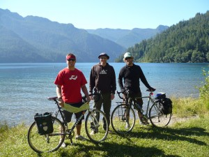 Sean, Ian, and Reidster at Lake Crescent