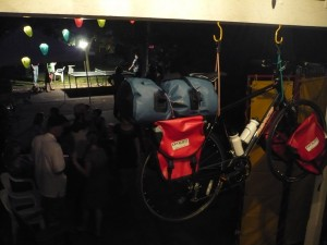 Our new Norco bike, Axium Paneers, and Sealine bag on display at the party