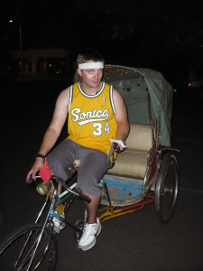 Sean on the rickshaw...ready to give some rides.