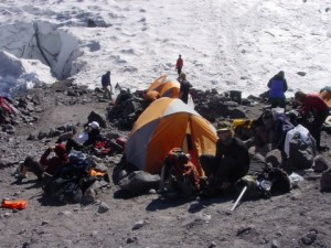 Hanging out at Camp Schurman.