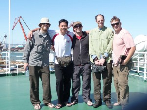 Team Man Zou on the deck of the ferry as we sail away from Dalian