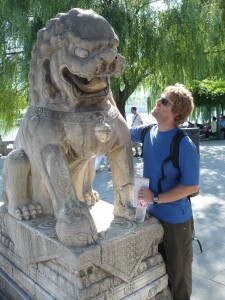 Reidster (the Lion) stares down his crazy Chinese counterpart at Ben Hai Lake