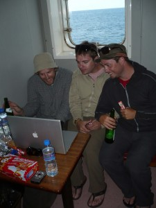 Kevin and Sean check out my latest blog post from our stateroom!
