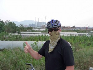 Sean sports an Ex Officio bandanna to protect his lungs from the fumes in the air.